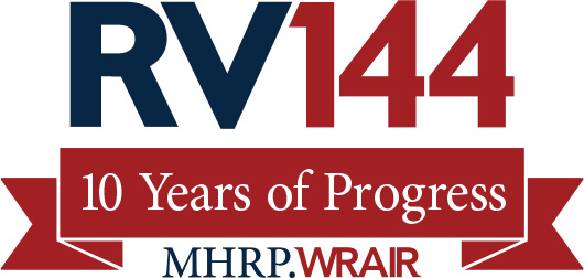 Logo of RV144 blue and red and while
