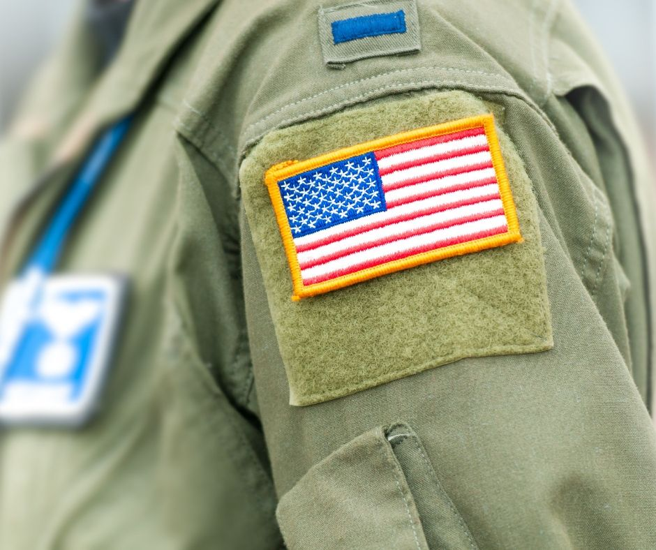 Photo of the American flag on the sleeve of a service member