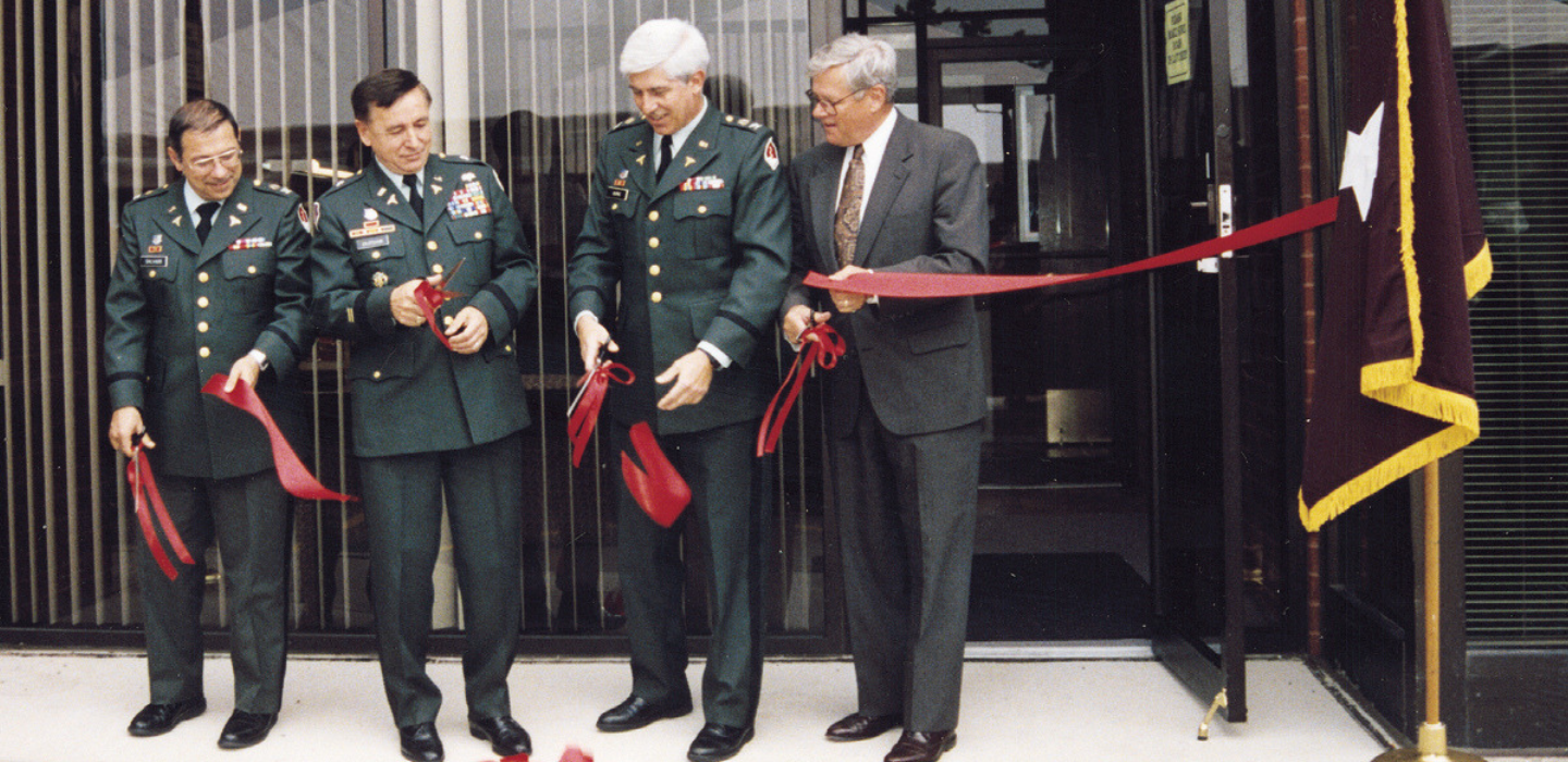 Ribbon cutting at a HJF site