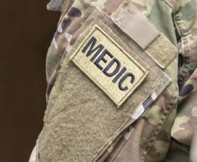 Army Medic badge close up.