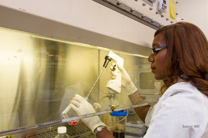 Female scientist working with pipette